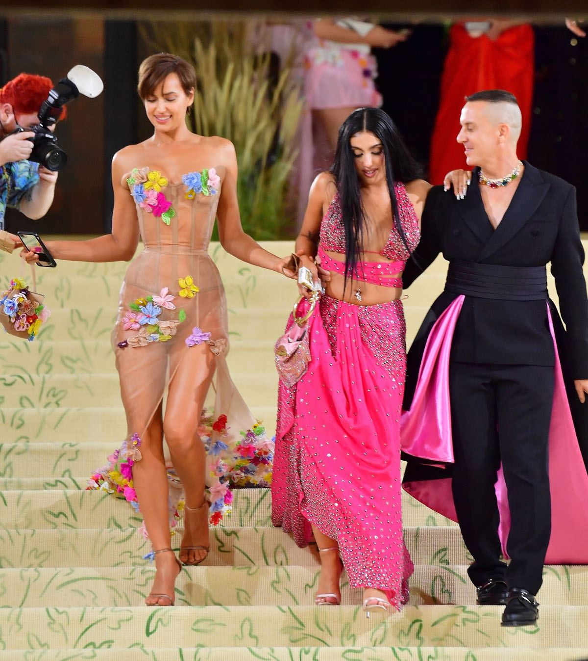 Irina Shayk, Lourdes Leon, and Jeremy Scott leave the Met Gala together in NYC