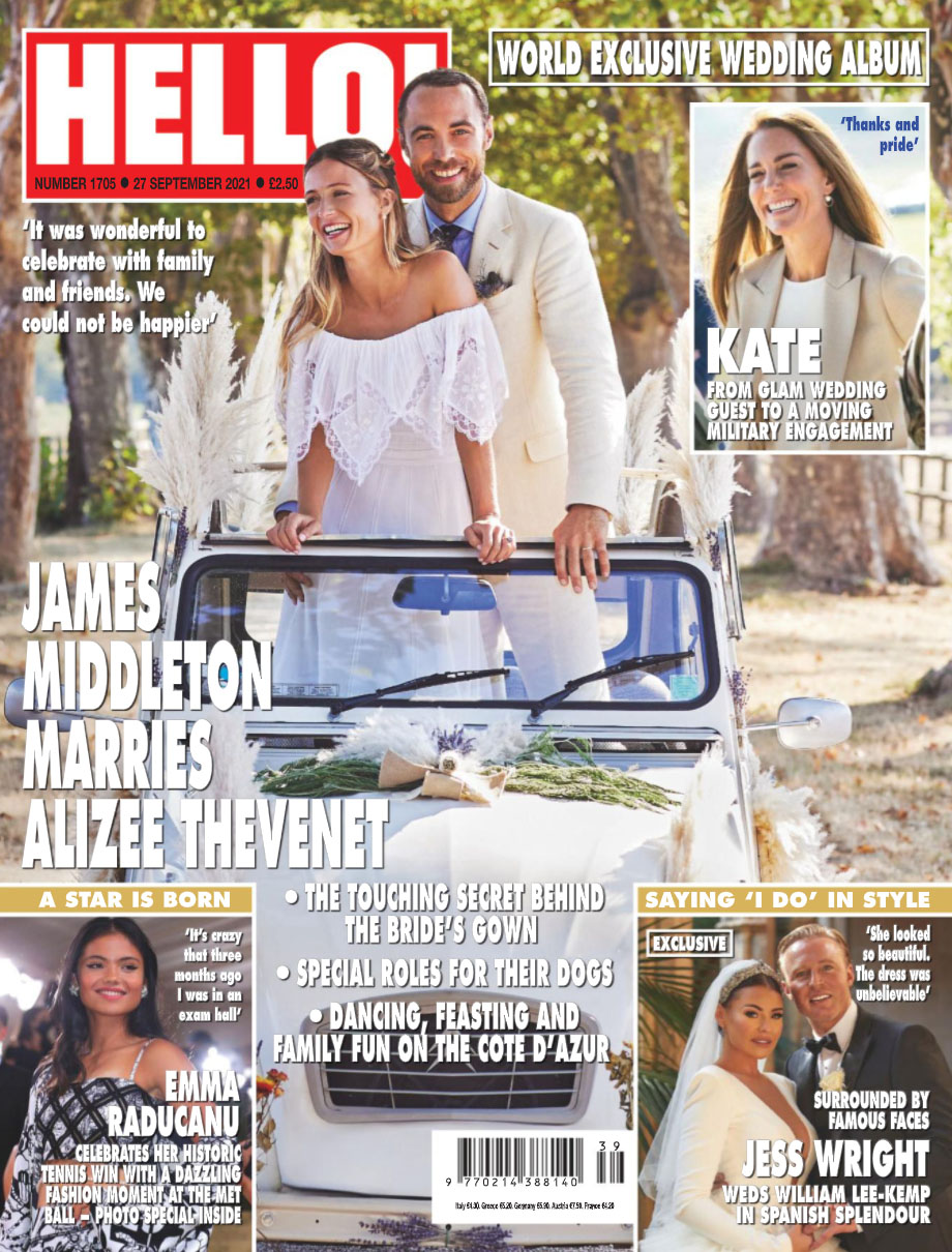 Hello Cover with James Middleton and Alizee Thevenet's wedding photos