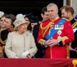 Her Majesty Queen Elizabeth II and the royal family enjoy a flypast by the RAF at Trooping the Colour on Saturday 8 June 2019