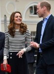 Britain's Catherine, Duchess of Cambridge (L) and Britain's Prince William, Duke of Cambridge react as they arrive to launch the King's Cup Regatta, at the Cutty Sark in Greenwich, south east London on May 7, 2019. - The event is set to take place on August 9, 2019, on the Isle of Wight, and is set to see The Duke and Duchess go head to head as skippers of individual sailing boats, in an eight boat regatta race. Each boat taking part will represent one of eight charities and the winning team will be awarded the historic trophy The King's Cup.