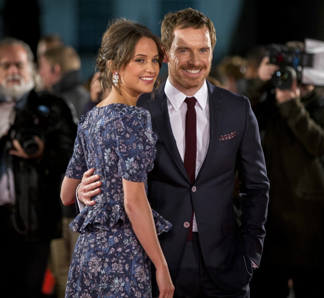 Alicia Vikander and Michael Fassbender at 'The Light Between Oceans' film premiere, London, UK
