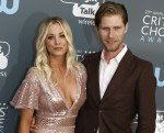 Kaley Cuoco and Karl Cook attend the 23rd Annual Critics' Choice Awards at Barker Hangar in Santa Monica, Los Angeles, USA, on 11 January 2018. Photo: Hubert Boesl - NO WIRE SERVICE - Photo: Hubert Boesl/