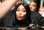 Nicki Minaj turns heads outside the entrance to The Late Show with Stephen Colbert