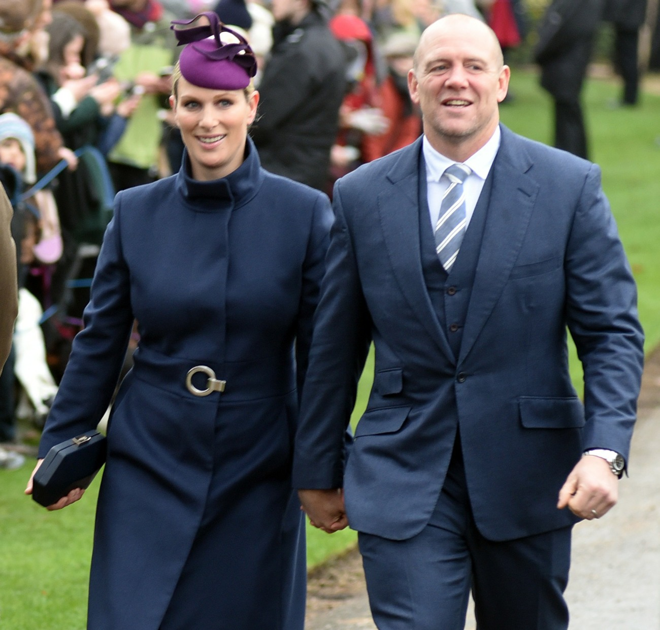 Mike and Zara Tindall arriving for the Xmas Day service at Sandringham Church, 25th December, 2018.