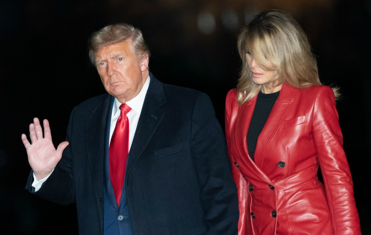 United States President Donald J. Trump and First lady Melania Trump return to the White House