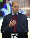 Britain's Prince William, the Duke of Cambridge, unveils a plaque, during a visit to Aston Villa
