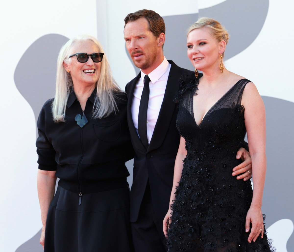 Jane Campion, Benedict Cumberbatch and Kirsten Dunst attend the red carpet of the movie 'The Power of the Dog' during the 78th Venice International Film Festival