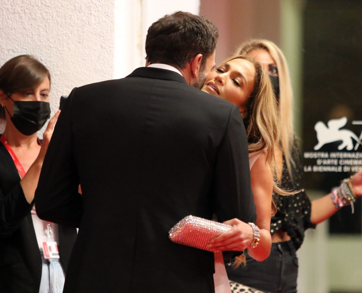 Ben Affleck and Jennifer Lopez attend the red carpet of the movie 'The Last Duel' at the 78th Venice International Film Festival