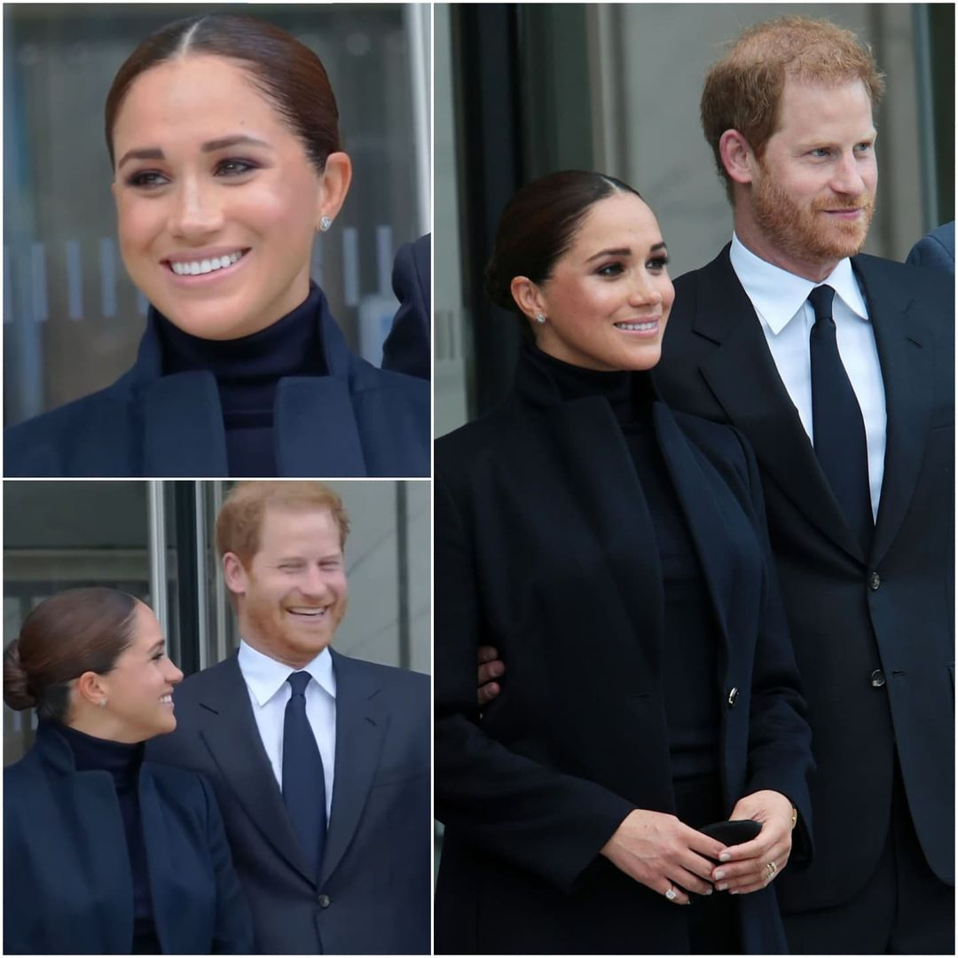 Collage of Harry and Meghan on their first day in New York