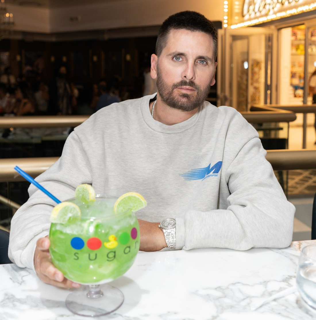 Scott Disick and Mario Lopez at The Grand Opening of the Sugar Factory at Harmon Corner in Las Vegas