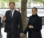 Prince Harry and Meghan Markle are seen after a visit to One World Observatory with Governor Hochul and Mayor de Blasio