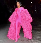Kim Kardashian looks pretty in pink outside the SNL afterparty in NYC!