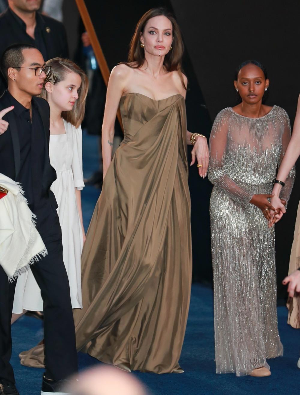 Angelina Jolie wore Balmain & brought her kids to 'The Eternals' premiere
