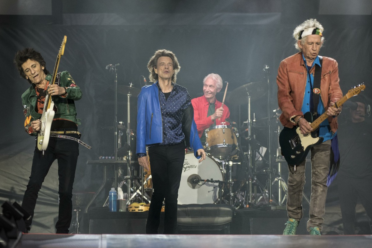 The Rolling Stones performing at The  Principality Stadium, Cardiff, Wales on 15th June 2018.  Ronnie Wood - guitar; Mick Jagger - vocals; Charlie Watts - drums; Keith Richards - guitar.