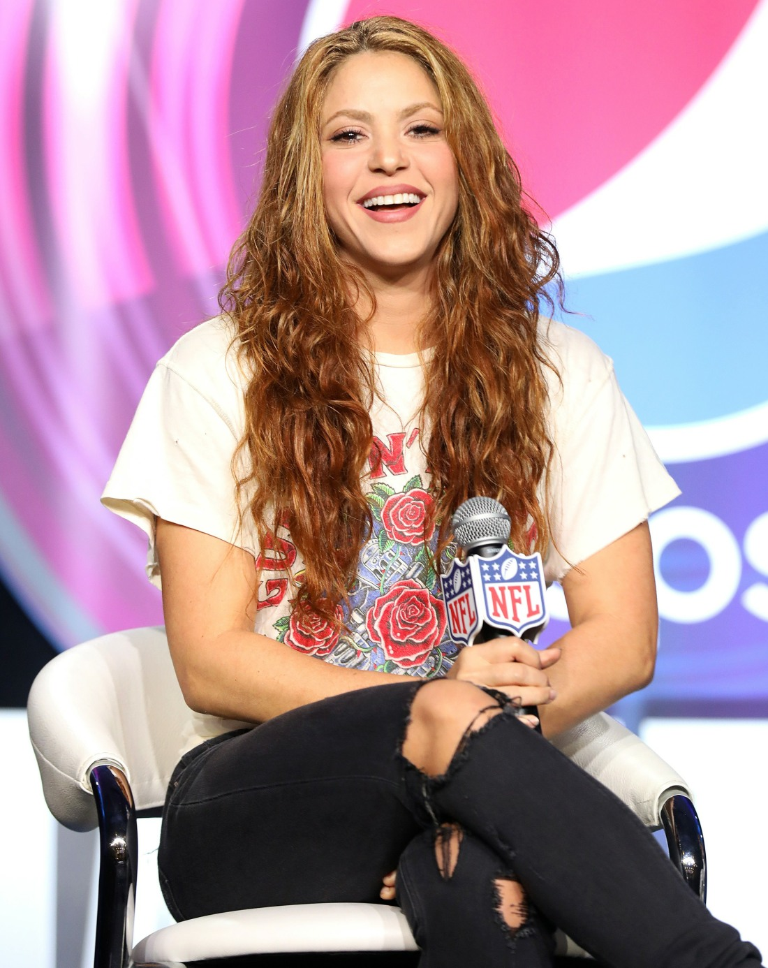 Shakira onstage during the Pepsi Super Bowl LIV Halftime Show Press Conference at Hilton Miami Downt...